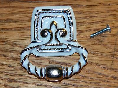 Vintage New Old Stock Drawer Pull Bonaventure Collection White / Gold Amerock