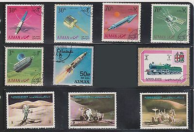 (U1-5) 1966-9 AJMAN mix of 37stamps 2d to 10R (C)