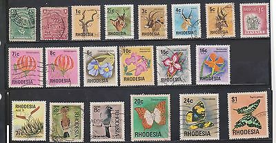 (U4-5) 1913-70's Rhodesia mix of 33 stamps 1c to $2.00