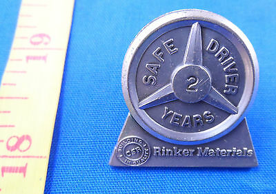 Vintage Rinker Materials 2 Years Trucking Safe Driver Lapel Pin