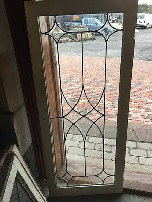Sg 1133 Antique Leaded Glass Four Point Bevel Cabinet Door Or Transom Window