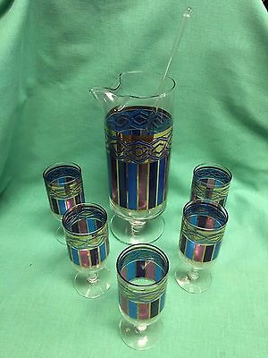 Vintage 7 Piece Set  (5) Glasses and Pitcher with Stirrer with Retro Look