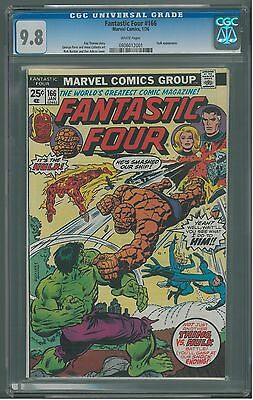 Fantastic Four  #166 CGC 9.8  White Pages  Hulk vs Thing Battle Cover