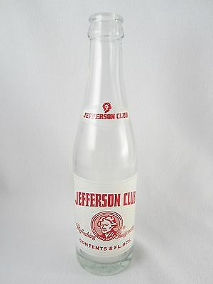 "Vintage 8.75"" Pepsi Jefferson Club 8 oz Soda Bottle - Charlottesville, Virginia"