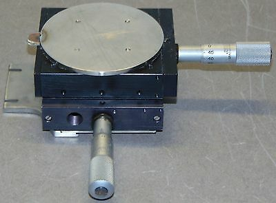 Linear Positioner 2 axis Stage Platform with 2x Starrett 263M Micrometers