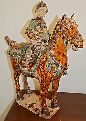 Fine Sancai Horse and Rider Glazed Pottery Statue Tang Dynasty Chinese antique