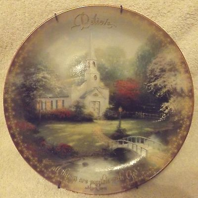 "VINTAGE COLLECTOR PLATE--HOMETOWN CHAPEL by THOMAS KINKADE-8"" TALL--GREAT PATINA"