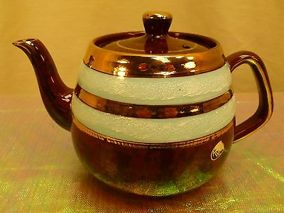 EUC VINTAGE ARTHUR WOOD MADE in ENGLAND GILDED BROWN TEAPOT W/ PALE BLUE #4642
