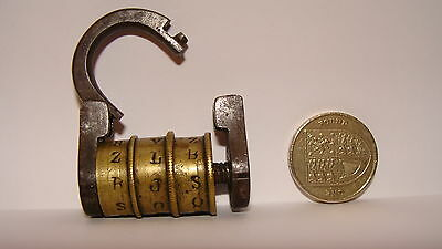 Antique Victorian Brass and iron 3 Letter Combination Word Padlock working order