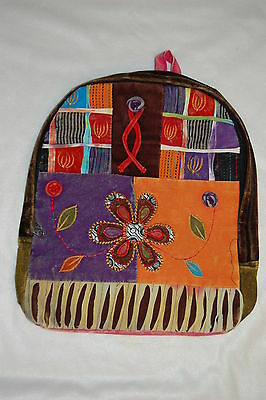 PATCHWORK Hobo BACKPACK Embroidered FLOWERS Girls PINK BACK Awesome Hippy