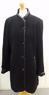 Windsmoor Ladies Black Cashmere blend Winter Coat with faux leather trim Size 16