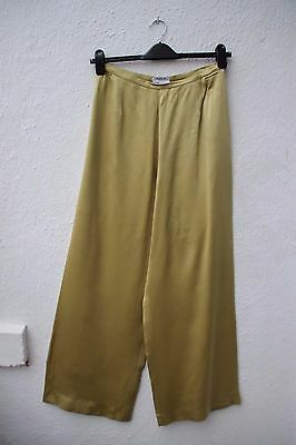 true vintage trousers gold high waist palazzo 30s 40s style  100% silk size 14