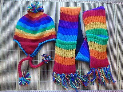 rainbow scarf and hat Hand made 100%wool