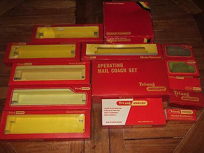 15 EMPTY HORNBY/TRIANG BOXES. R402 Mail Coach, trucks, coaches etc etc GOOD COND