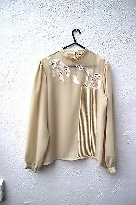 vintage blouse lace collar long-sleeved shirt top cream high neck