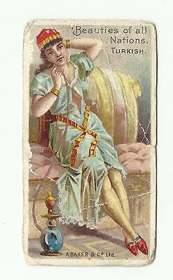 Beauties of all Nations. A Baker & Co. Turkish Turkey. Original 1899 card