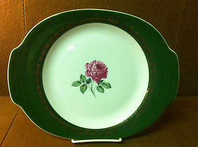 """11 3/4"""" Handled Cake Plate American Beauty Rose By Limoges American TS530"""