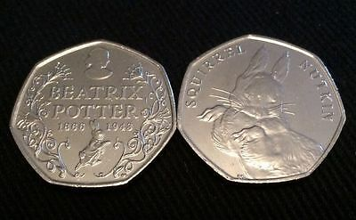 1 squirrel nutkin's And 1 Beatrix Potter Anniversary,50p bank bag Coins,NEW.UNC.