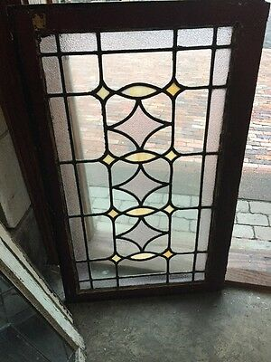 Sg 1142 Antique Leaded Glass Textured And Stained Window 25x40 1/2