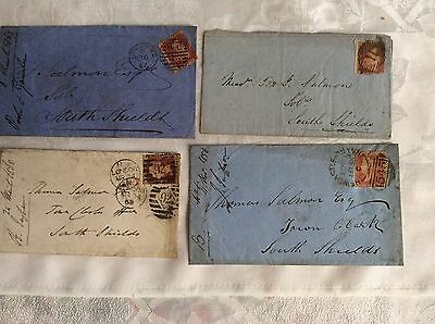 Queen Victoria Penny Red Stamps On Original Envelopes 1856 - 1868