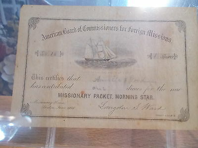 ORIGINAL 1866 Missionary Packet Morning Star Contribution Certificate Stock