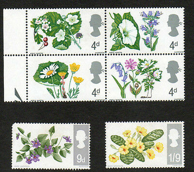 GREAT BRITAIN STAMPS - 1967 Wild Flowers (SG717 -722). Mint set of 6.