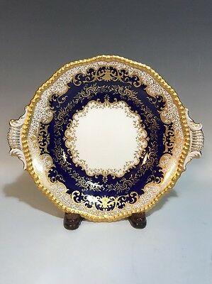 Coalport Cobalt/Blue Detailed HP Gold Raised Accents BonBon Dish Relish Tray