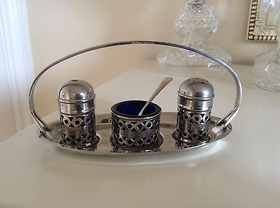 Vintage Silver Plated Cruet Set With Stand