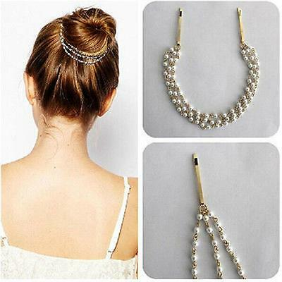 Accessories Multilayer Tassels Hair Clip Pearl Chain Hairpin