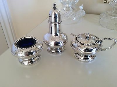 Vintage Gorgeous Silver Plated Cruet Set Hand Engraved