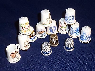 x14 THIMBLES JOB LOT MIX ADVERTISING TOPOGRAPHICAL COLLECTABLE LOFT FIND DETAILD