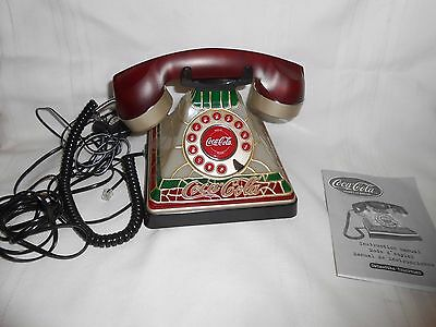 Vintage Coca Cola Light Up Stained Glass Style Corded Phone New - No Box