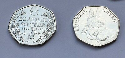 Beatrix Potter & Squirrel Nutkin 50p Fifty Pence Coins Uncirculated