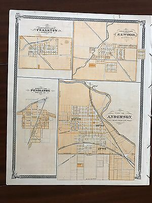 Indiana Map Baskins Forster Original From 1886 Atlas Elwood Anderson Frankton
