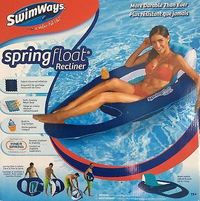Swimways Spring Float Recliner Swimming Pool Relaxing Cup Holder Blue &  White