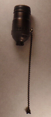 On/Off Antique Bronze Brass Pull Chain Early Electric Style Uno Lamp Socket 285B