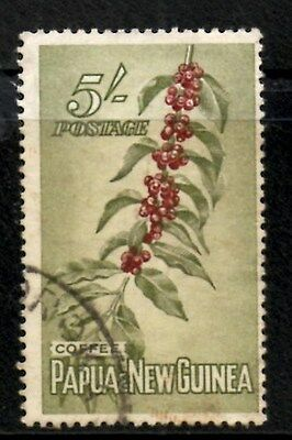 (Ref-9459) Papua New Guinea 1958 5/- Coffee Beans  SG.24  Used