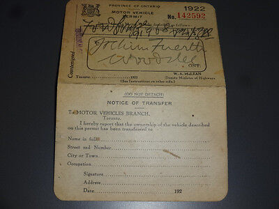 1922 Province of Ontario Motor Vehicle Permit