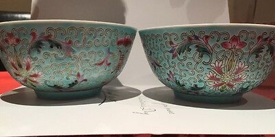 Vintage Chinese Porcelain, Factory Mark N Green Rice Bowls, Small Size.