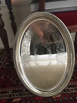 Beautiful Silver Tray • Large Oval • Vintage • Unmarked • Drinks Bar Decor