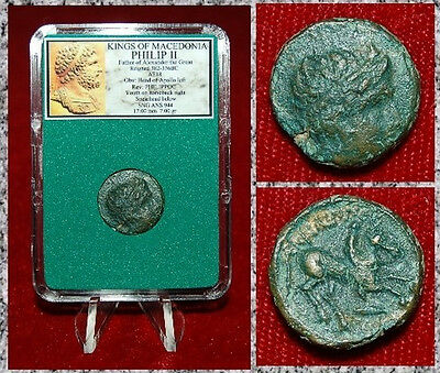 Ancient GREEK Coin Of PHILIP II ALEXANDER THE GREAT Father Apollo On Reverse