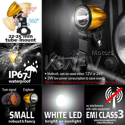 """moto scooter 1.6"""" rond auxiliary LED lampe mini spot d'or housing w/ bracket x1"""