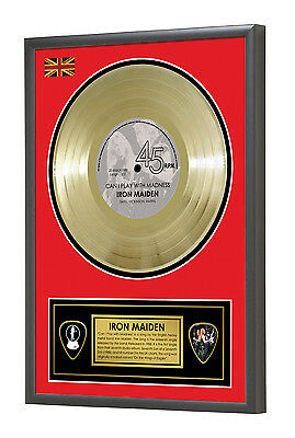 Iron Maiden Can I Play with Madness Seventh Son Framed Gold Disc Display Vinyl (