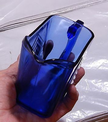 Vintage Cobalt Blue Chevron Hazel Atlas Pitcher  Depression Glass