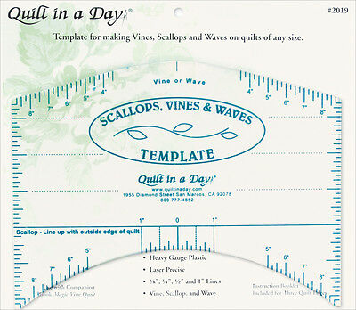 """Quilt In A Day Scallops, Vines & Waves Template-9""""X7"""" 2019"""