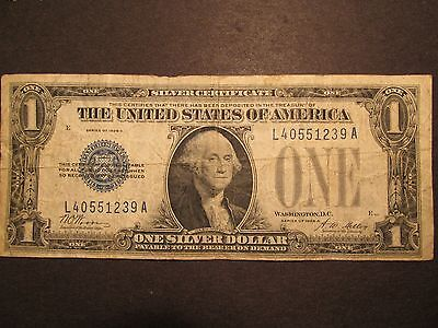 1928A One Dollar Bill $1 Silver Certificate Funny Back, blue seal