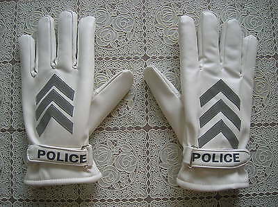 99's series China Police Winter PU Leather Safety Reflective Gloves,White.