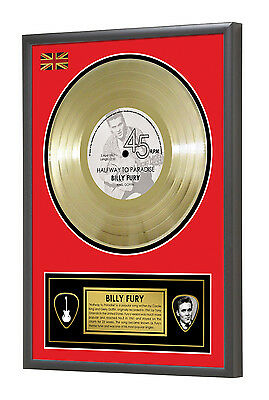 Billy Fury Halfway to Paradise Framed Gold Disc Display Vinyl (45rpm)