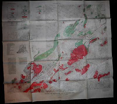 1964 USGS Geologic & Aeromagnetic Map of Northern Maine + 7 page treatise GP-312
