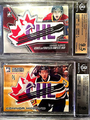 Connor Mcdavid Lot 2 Rookie Complete Logo Game Used Jersey Patch # 1/1 Bgs 9.5